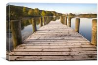 Jetty at Coniston Water with Yacht in Background, Canvas Print