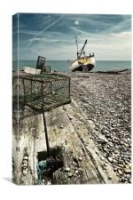 Lobster pot and fishing boat, Canvas Print