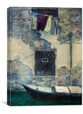 Old Wall and Washing, Canvas Print