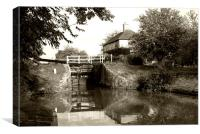 Semington Lock and House Brownie Effect, Canvas Print