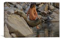 Nude on Driftwood, Canvas Print