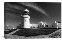 Pendeen Lighthouse in mono, Canvas Print