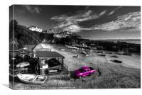 Newquay Harbour Pink Pickup, Canvas Print