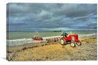 Red Tractor at Arrowmanches, Canvas Print