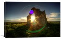 Winter sun at Burrow Mump, Canvas Print