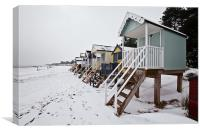 Snow Covered Beach in Wells, Canvas Print