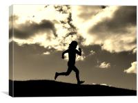Running in the hills, Canvas Print
