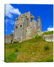 Corfe Castle Keep, Canvas Print