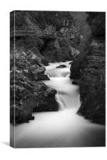 The Soteska Vintgar gorge in Black and White, Canvas Print