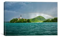 Rainbow over Lake Bled, Canvas Print