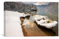 Snow covered boat on Lake Bohinj in Winter, Canvas Print