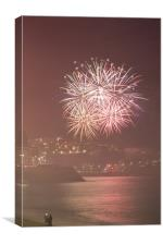 2009 - 2010 New Years Eve fireworks in Nice, Prove, Canvas Print