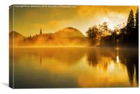 Misty sunrise at Lake Bled, Canvas Print