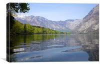 Rippled reflections on an alpine lake, Canvas Print