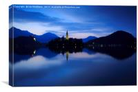 Dawn breaks over Lake Bled, Canvas Print