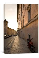 Moped in street at sundown in Assisi, Italy, Canvas Print