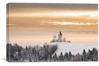 Winter sunrise at Jamnik church of Saints Primus a, Canvas Print
