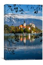Autumn colours at Lake Bled, Canvas Print