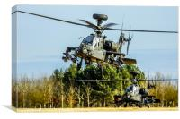 Two AH64 Apache helicopters, Canvas Print