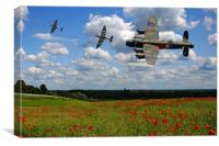 Lancaster Spitfire and poppy Field, Canvas Print