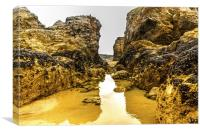 Perranporth rock pool, Canvas Print