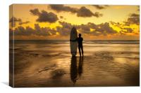 Perranporth beach with Lone surfer at sunset, Canvas Print