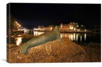 Nelson the seal at Looe, Canvas Print