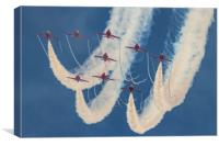 Red Arrows at Duxford, Canvas Print