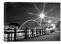 Black and White on the Quayside, Canvas Print