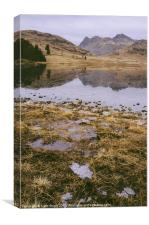 Frozen Blea Tarn and Langdale Pikes. Lake District, Canvas Print