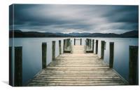 Jetty on Lake Windermere with Langdale Pikes beyon, Canvas Print