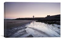 Burry Port lighthouse at twilight. Wales, UK., Canvas Print