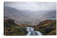 Rain clouds and road through the Wrynose Pass. Cum, Canvas Print