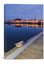 Boats and harbour at dawn twilight. Wells-next-the, Canvas Print