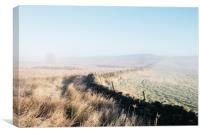 Curved wall in the frost and fog on Beeley Moor at, Canvas Print