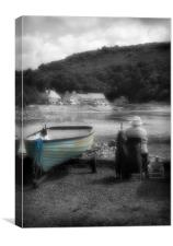 ARTIST AND TURQUIOSE BOAT, Canvas Print