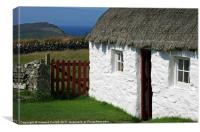 Manx thatched cottage, Canvas Print