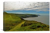 Lynton and Lynmouth, a view from Countisbury , Canvas Print