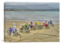 Motocross On The Beach, Canvas Print