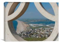 Chesil Beach Through Olympic Rings, Canvas Print