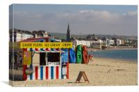 Ice Cream Kiosk Weymouth Beach, Canvas Print