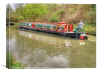 Narrowboat Along The Kennet And Avon, Canvas Print