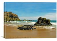 Lydstep Cavern Beach.Jaggard Rocks., Canvas Print