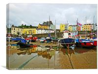 Tenby Harbour.Reflection Boats., Canvas Print