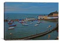 Tenby Harbour.High Tide.Wales., Canvas Print