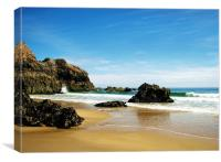 Lydstep Cavern Beach.Tenby., Canvas Print