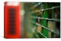 London phone box with shutters, selective focus., Canvas Print