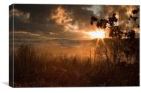 Winter sun over Wales, Canvas Print