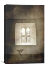 Cry for freedom, bird and window, Canvas Print