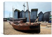 Hastings net sheds, Canvas Print